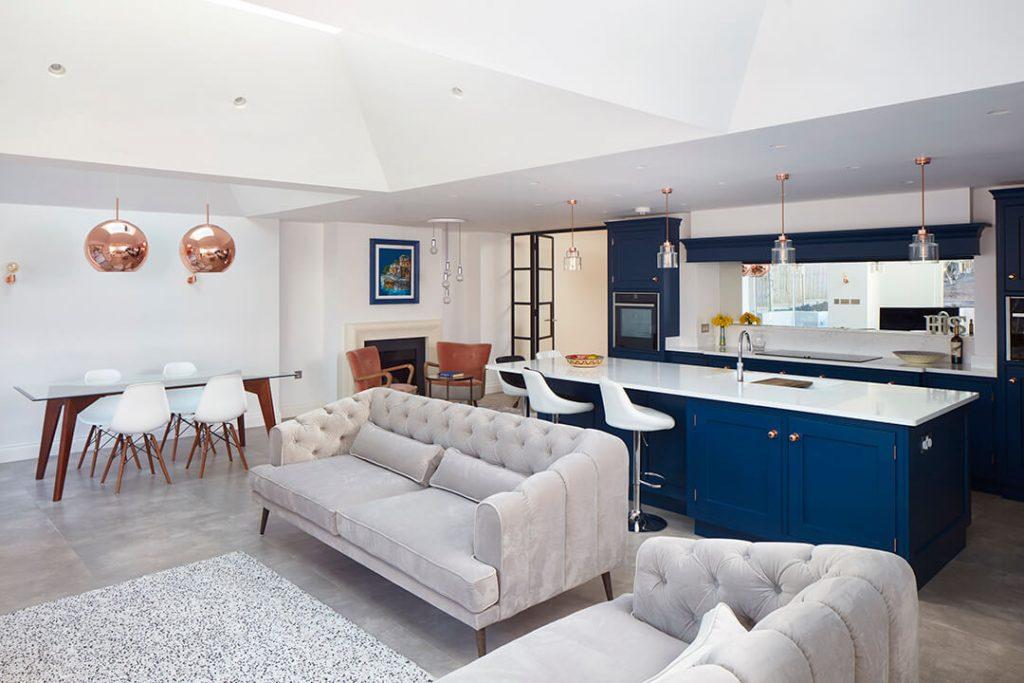Blue kitchen done by Proficiency Bespoke